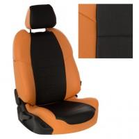 Авточехол из экокожи, Оранжевый + Чёрный